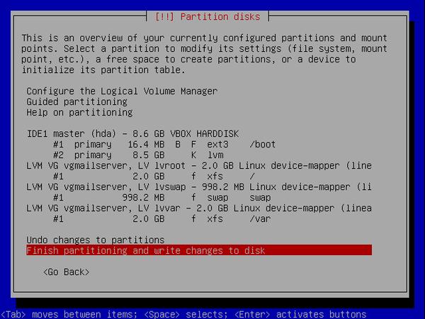 écran 10 debian de choix de partitionnement à l'installation