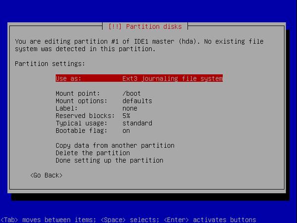 écran 3 debian de choix de partitionnement à l'installation