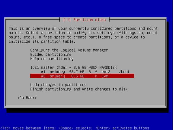 écran 6 debian de choix de partitionnement à l'installation